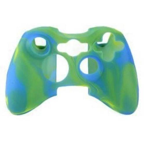 Capa Case Protetora de Silicone Gel para Controle Xbox 360 Camuflada Azul e Verde Feir Fr-314m