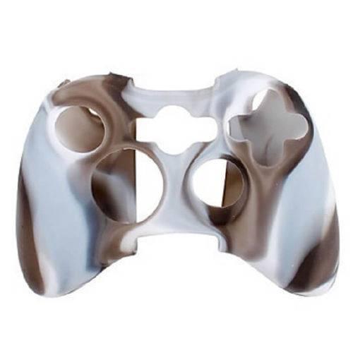 Capa Case Protetora de Silicone Gel para Controle Xbox 360 Camuflada Marrom e Branco Feir Fr-314m