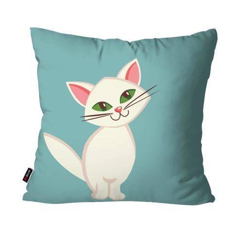 Capa de Almofada Avulsa Infantil Gato Azul