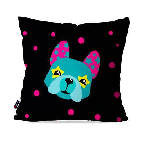 Capa de Almofada Avulsa Infantil Preto Dog Fashion
