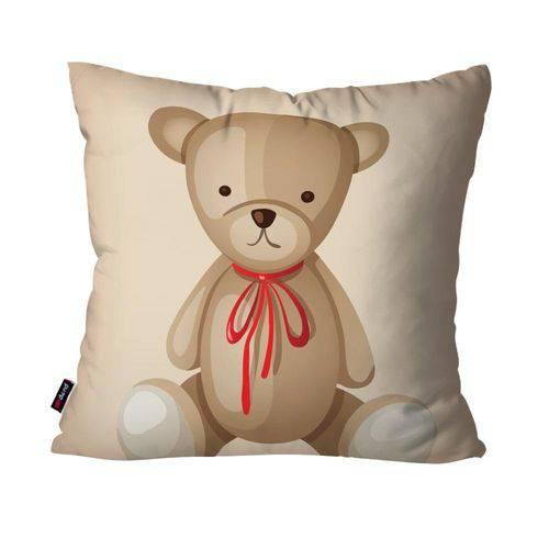 Capa de Almofada Avulsa Infantil Retrô Bege Urso