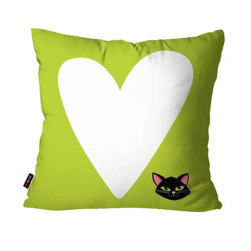 Capa de Almofada Avulsa Infantil Verde Coração Gatinha