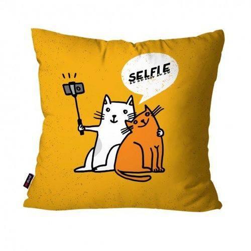 Capa de Almofada Avulsa Laranja Gatos Selfie