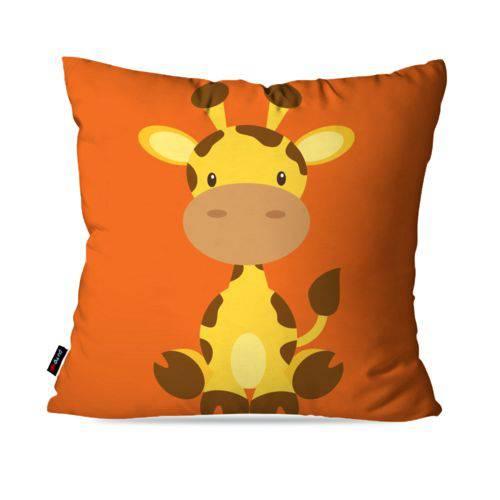 Capa de Almofada Avulsa Laranja Zoo Girafa