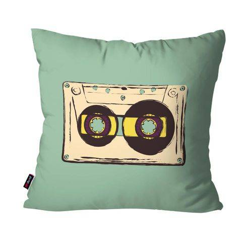 Capa de Almofada Avulsa Música Verde Fita Cassete