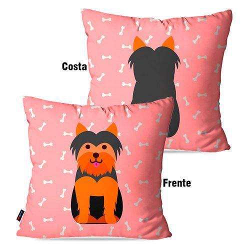 Capa de Almofada Avulsa Rosa Cachorro Frente Costa