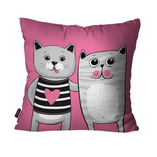 Capa de Almofada Avulsa Rosa Casal de Gatos