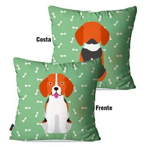 Capa de Almofada Avulsa Verde Cachorro Frente Costa