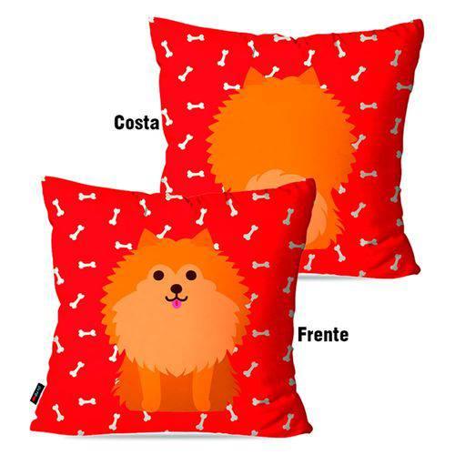 Capa de Almofada Avulsa Vermelho Cachorro Frente Costa