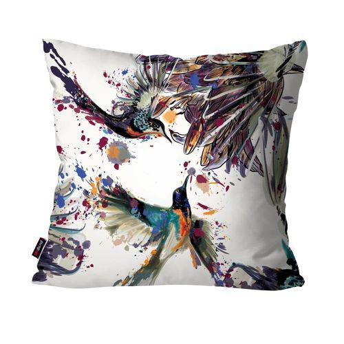 Capa de Almofada Decorativa Avulsa Branco Beija-Flor