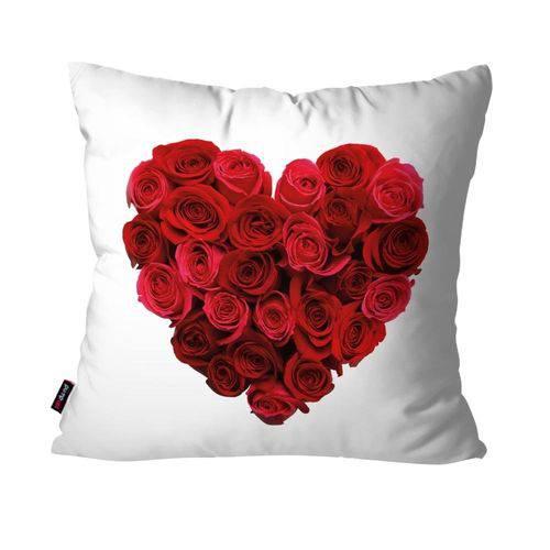 Capa de Almofada Decorativa Avulsa Branco Coração de Rosas