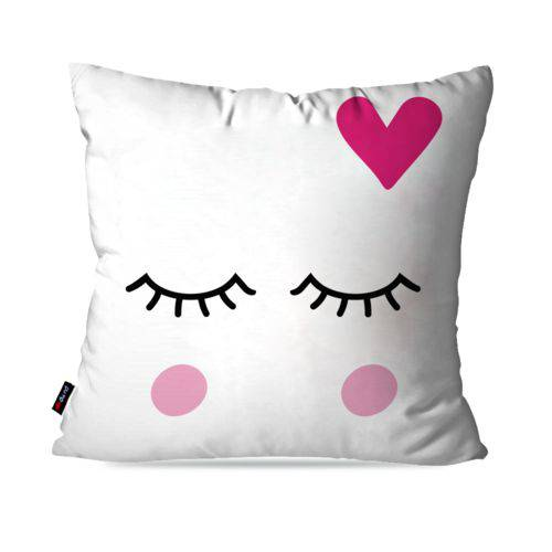 Capa de Almofada Decorativa Avulsa Branco Relax Coração