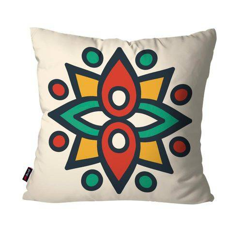 Capa de Almofada Decorativa Avulsa Off White Mandala