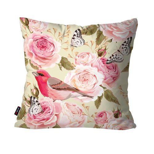Capa de Almofada Decorativa Avulsa Rosa Pássaro Natureza