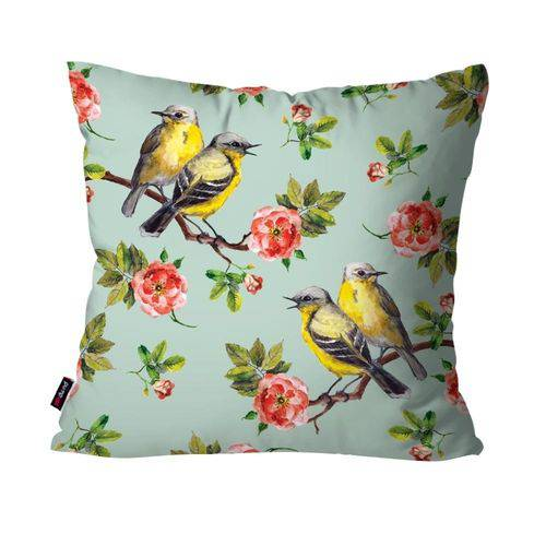 Capa de Almofada Decorativa Avulsa Verde Flores e Pássaros