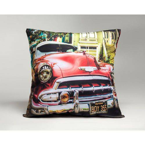 Capa de Almofada Decorativa Carro Vermelho
