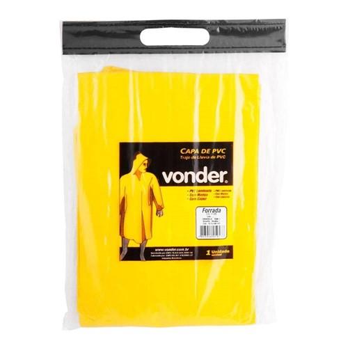 Capa de Chuva Pvc Amarela com Forro Gg - Vonder