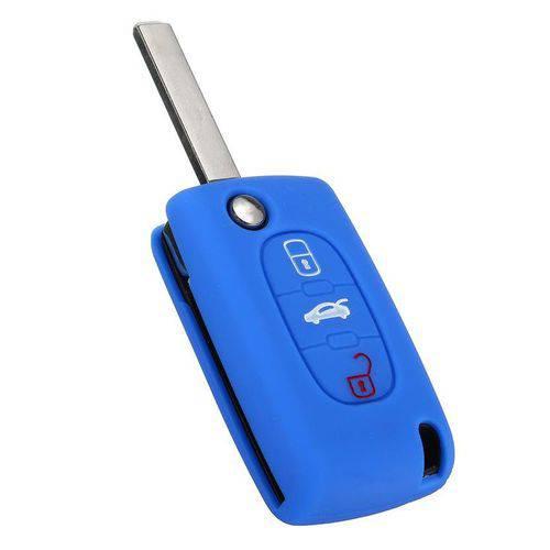 Capa de Silicone para Chave Canivete Citroen 3 Botoes Azul