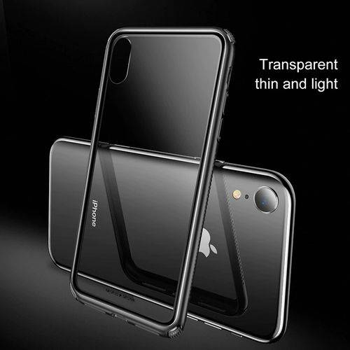 Capa Iphone Xs Max Baseus See-through Glass + Pelicula de Vidro - Case Transparente com Borda Preta