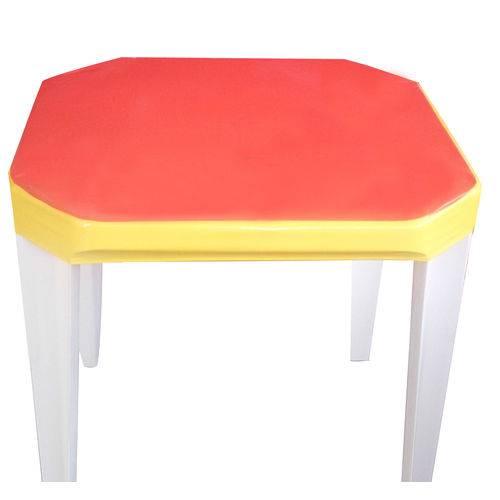 Capa para Mesa Plástica Vermelha e Amarela