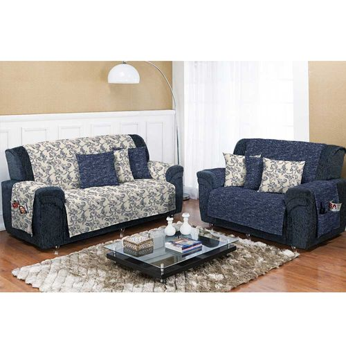 Capa para Sofá Dupla Face Decore Azul Textil Lar 1026673