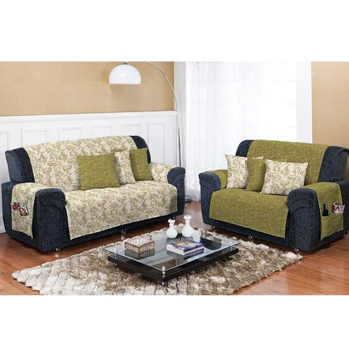 Capa para Sofá Dupla Face Decore Verde Musgo Textil Lar 1026430