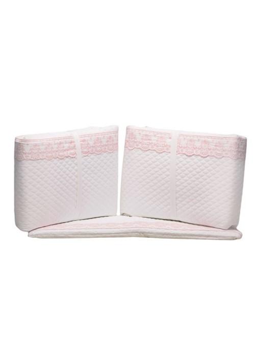 Capa Protetor Berço Gioielle Branco e Rosa