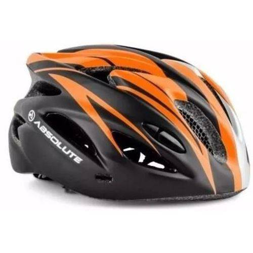 Capacete Ciclismo Absolute Nero Wt012 com Led Pisca - Pto/laranja - M