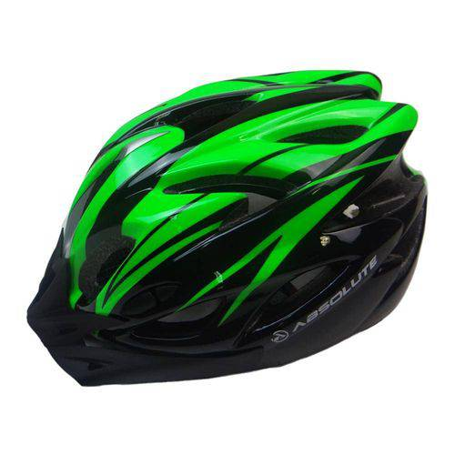 Capacete Ciclismo Bike Sinalizador Led Absolute Preto/Verde