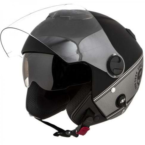 Capacete PRO TORK NEW Atomic HD SKULL Riders Fosco Aberto Viseira Solar PRETO-PRATA