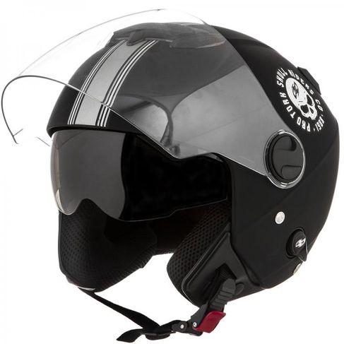 Capacete PRO TORK NEW Atomic SKULL Riders Fosco Aberto Viseira Solar PRETO-PRATA