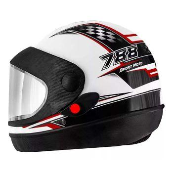 Capacete Super Sport Moto PRO TORK BRANCO/VERMELHO - 56