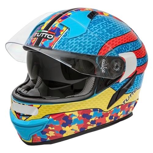 Capacete Tutto Moto Racing Multicolore C/ Vseira Solar Interna