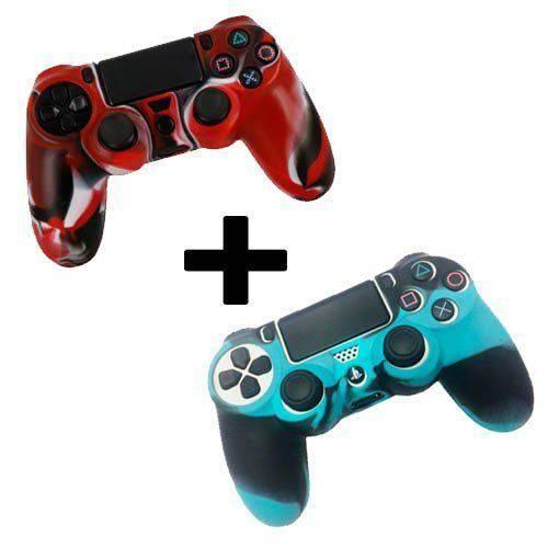 2 Capas de Silicone para Controle Joystick Playstation 4 Vermelho e Preto + AZUL e Preto
