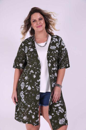 Cardigan Estampado Plus Size Verde P