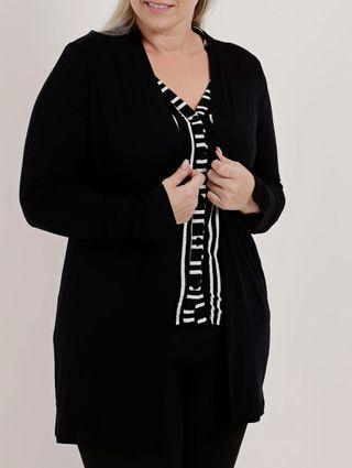 Cardigan Plus Size Feminino Autentique Preto