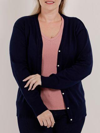 Cardigan Plus Size Feminino Azul