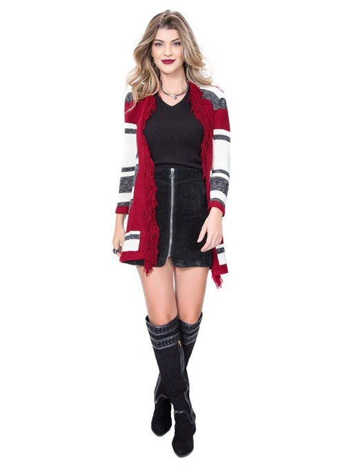 Cardigan Tricot de Franja Vermelho