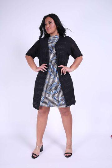 Cardigan Tricot Plus Size Preto P
