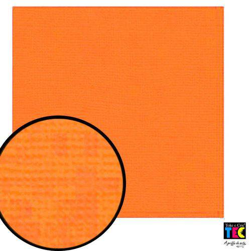 Cardstock Texturizado Toke e Crie Laranja Cítrico - 9694 - Pcar032