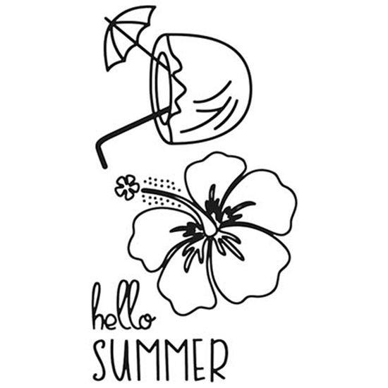 Carimbo de Borracha Litoarte CLP-126 Tropical Hello Summer