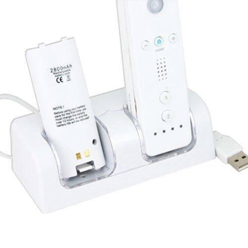 Carregador Base Dock P/ Nintendo Wii + 2 Pack Bateria de Alta Capacidade 2800 Recarregável