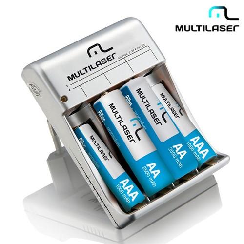 Carregador de Pilhas AA/AAA com 4 Pilhas Recarregáveis CB045 Multilaser