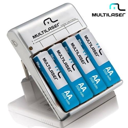 Carregador de Pilhas AA/AAA com 4 Pilhas Recarregáveis CB054 Multilaser