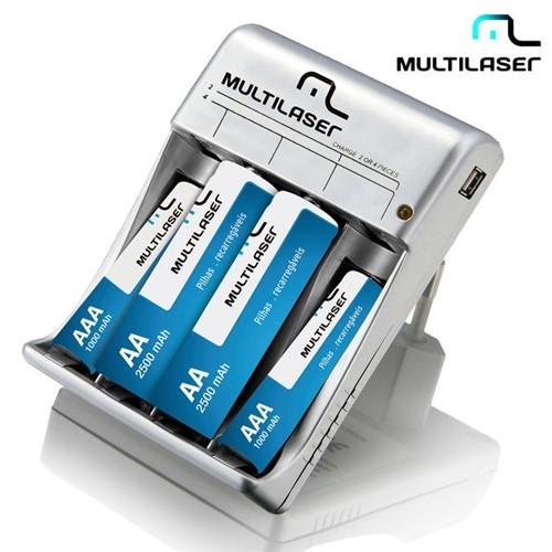 Carregador de Pilhas AA/AAA e Saída USB com 4 Pilhas Recarregáveis CB073 Multilaser