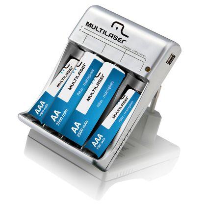 Carregador de Pilhas com Saída USB Multilaser - CB073 CB073