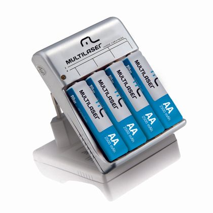 Carregador de Pilhas Multilaser AA/AAA + 4 Pilhas AA 2500mAH - CB054 CB054