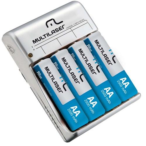 Carregador de Pilhas Multilaser AA/AAA com 4 Pilhas AA 2500mAH - CB054