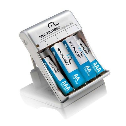 Carregador de Pilhas Multilaser AA/AAA com 2 Pilhas AA 2500mAH e 2 Pilhas AAA 1000mAH - CB045
