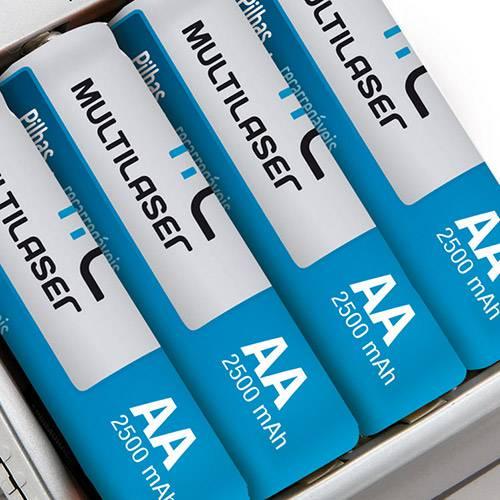 Carregador Multilaser Mirage RM02 -2 Pilhas AA e 2 AAA 12 Horas